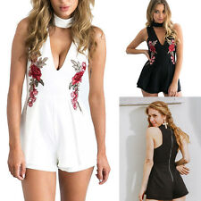 Sexy Women Deep V Neck Floral Print Playsuits Sleeveless Rompers Jumpsuits Pants