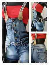 Women's Summer Cotton Blue Denim Dungarees Hot Pants Shorts Braces 4 6 8 10