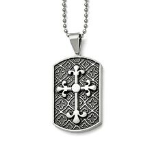 Stainless Steel Enamel Fleur De Lis Cross Dog Tag Pendant Necklaces - Bead