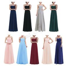 Women's Long Chiffon Formal Bridesmaid Party Wedding Evening Prom Gown Dress