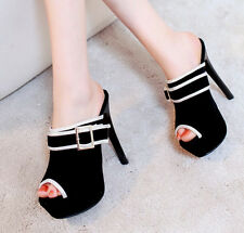 Womens Mules Sandals Pumps Sandals Sexy Black Stilettos 2017 New Platform Shoes