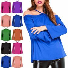 Womens Ladies Summer Off The Shoulder Shirt Strappy Casual Loose Top Blouse 8-26