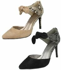 SALE Spot On F9746 Ladies Microfibre/Snake Print Slim Heel Court Shoes