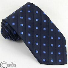 Business Casual Tie UMBERTO SCOLARI Blue Jacquard 100% Silk Made Italy Classic