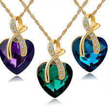 Crystal Heart Pendant Necklace Women Gold Plated Necklaces Chain Choker Pendant