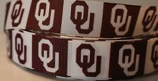 "7/8"" OKLAHOMA SOONERS INSPIRED GROSGRAIN RIBBON HAIR BOWS PARTY DECORATIONS"
