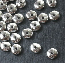 Nugget Beads, Tierracast Beads, 7mm Spacers, Rhodium Plate, 20/100 Pieces, 3661