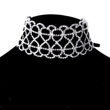 Women Fashion Jewelry Rhinestone Flower Choker Necklace Charming Clavicle Chain