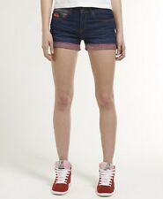 New Womens Superdry Blue Tomboy Shorts Mid Vintage Miami Blue