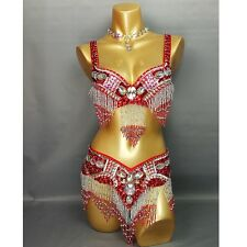 Women's beaded belly dance costume wear Bar+Belt 2piece set 9 colors ladies bell