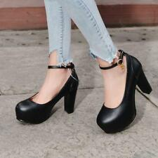 New Womens Sweet Lolita Ankle Strappy High Heels Block Shoes Pumps Elegant Shoes