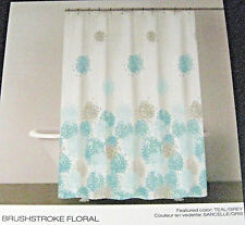 "Dkny Fabric Shower Curtain Brushstroke Floral Teal/Grey/White 72"" x 72"""