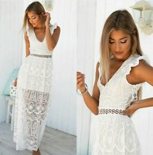 BNWT Angel Biba Bright White Lace Backless Maxi Cocktail Dress 6 10 - LAST TWO!