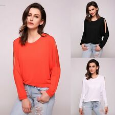 Womens Fashion Baggy Solid Batwing Slit Long Sleeve Crew Neck Pullover T-Shirt