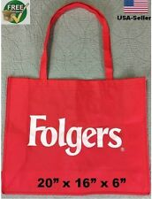 "Grocery Shopping Bag Tote Reusable Recycled eco Beach Folgers X Large 20"" Lot"