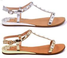 Womens Flats Wedge Ankle Strap Studded Sandals Ladies Ankle Strap T-bar Shoes Si