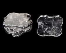 Natural Clear Rock Crystal Quartz Coasters Set of 6 Home Table Decoration