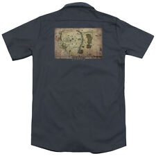 The Hobbit Middle Earth Map (Back Print) Mens Work Shirt CHARCOAL