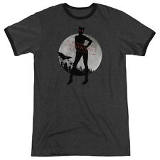 Arkham City Batman Catwoman Convicted Mens Adult Heather Ringer Shirt Charcoal