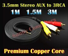 3.5mm AUX Male to 3RCA M/M Stereo Audio Adapter Cable Red Yellow White Plug AU
