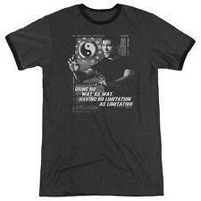 Bruce Lee No Way As A Way Mens Adult Heather Ringer Shirt Charcoal