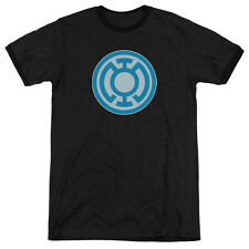 Green Lantern Blue Symbol Mens Adult Heather Ringer Shirt Black