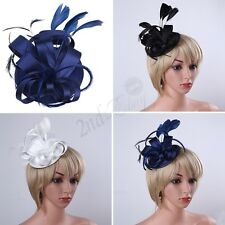 Women Lady Fascinator Hat Feather Party Pillbox Hat Flower Derby Hat Cocktail