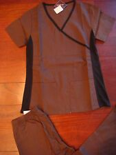 #4018 New Scrubs Set Uniform Scrub Top Flare Pant Chocolate Brown Knit in Black