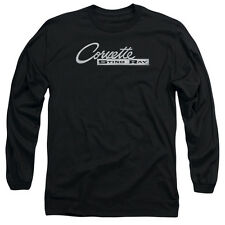 Chevy Chrome Stingray Logo Mens Long Sleeve Shirt Black
