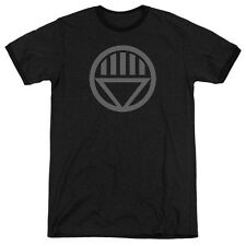 Green Lantern Grey Emblem Mens Adult Heather Ringer Shirt Black