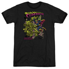 Superman Versus Metallo Blacklight Mens Adult Heather Ringer Shirt Black