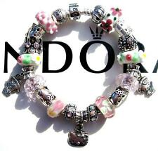 Authentic PANDORA 925 Sterling Silver Bracelet HELLO KITTY with Charms NEW! AA22
