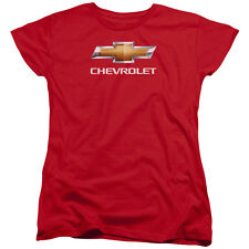 Chevy Chevy Bowtie Stacked Womens Short Sleeve Shirt Red