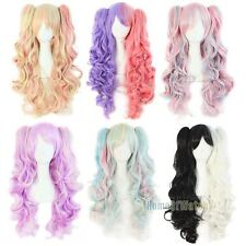 long lolita wig ponytails purple pink heat resistant wavy synthetic curly anime