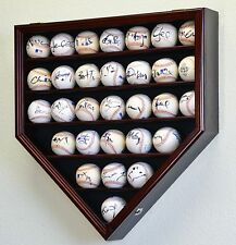 30 Baseball Ball Display Case Cabinet Holder Rack Home Plate Shaped w/98% UV Pro