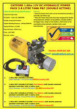 12V DC Double Acting Hydraulic Power Pack 1.6Kw 3.8Ltr Round Oil Tank