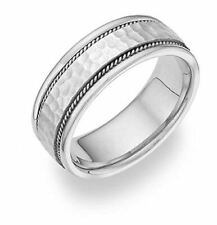 Brushed Hammered Wedding Band Ring - Sterling Silver