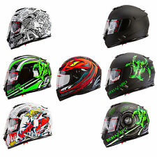 Full Face Street Bike Motorcycle Helmet Dual Visor DOT Bluetooth Compatible