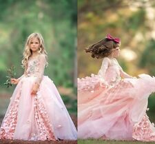 New Pink Flower Girl Dresses Party Formal Ball Gowns Lace Applique 2-14 Coutume