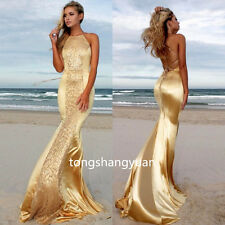 Sexy Halter Evening Dress Mermaid Crystal Formal Beach Prom Gown Gold Size 2 4 +