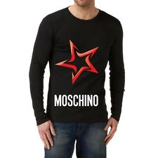 Black Men Modern New T-shirt Tee Long Sleeves Blouse Red Star Love Moschino