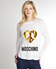 White Women Top Tee T-shirt Blouse Long Sleeve 3D Heart Love Moschino