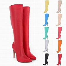 Womens knee stilettos High Heels pointed toe side zip knight boots Pump shoes Sz
