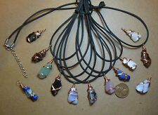 5 Copper Wire Wrapped Pendants- Smaller Tumbled Stones- Random Assortment