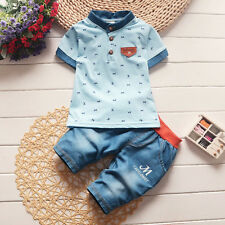 2PCS Toddler Kids Baby boys Summer Outfit Tshirt tops+shorts Casual Clothes set