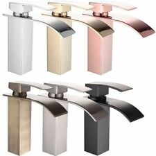Bathroom Brass Faucet Square Design Basin Sink Single Lever Waterfall Mixer Tap