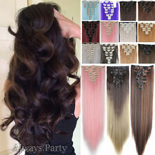 THICK DELUXE 8 Piece Clip In Hair Extensions Long Wavy Curly Ombre Full Head Tss