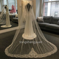 2017  Bridal Veils Lace Appliques Wedding Veils White Ivory Cathedral + Comb