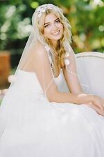 Fingertip Wedding Veils White Ivory 1 T Bridal Veils Lace Soft Tulle New Elegant