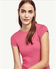 NWT Ann Taylor Ribbed Cotton Cap Sleeve Tee T Shirt Top $30 Raspberry Pink
